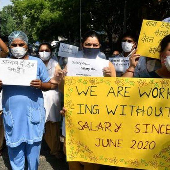Hindu Rao Nurses go on a Strike due to Salary Issues